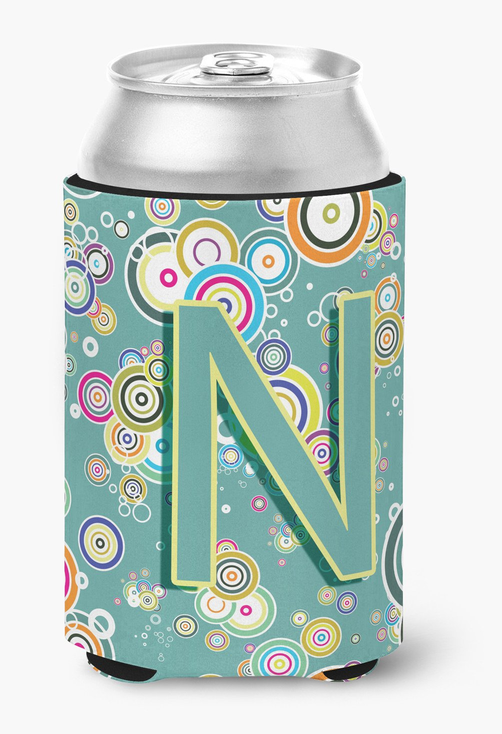 Letter N Circle Circle Teal Initial Alphabet Can or Bottle Hugger CJ2015-NCC by Caroline's Treasures