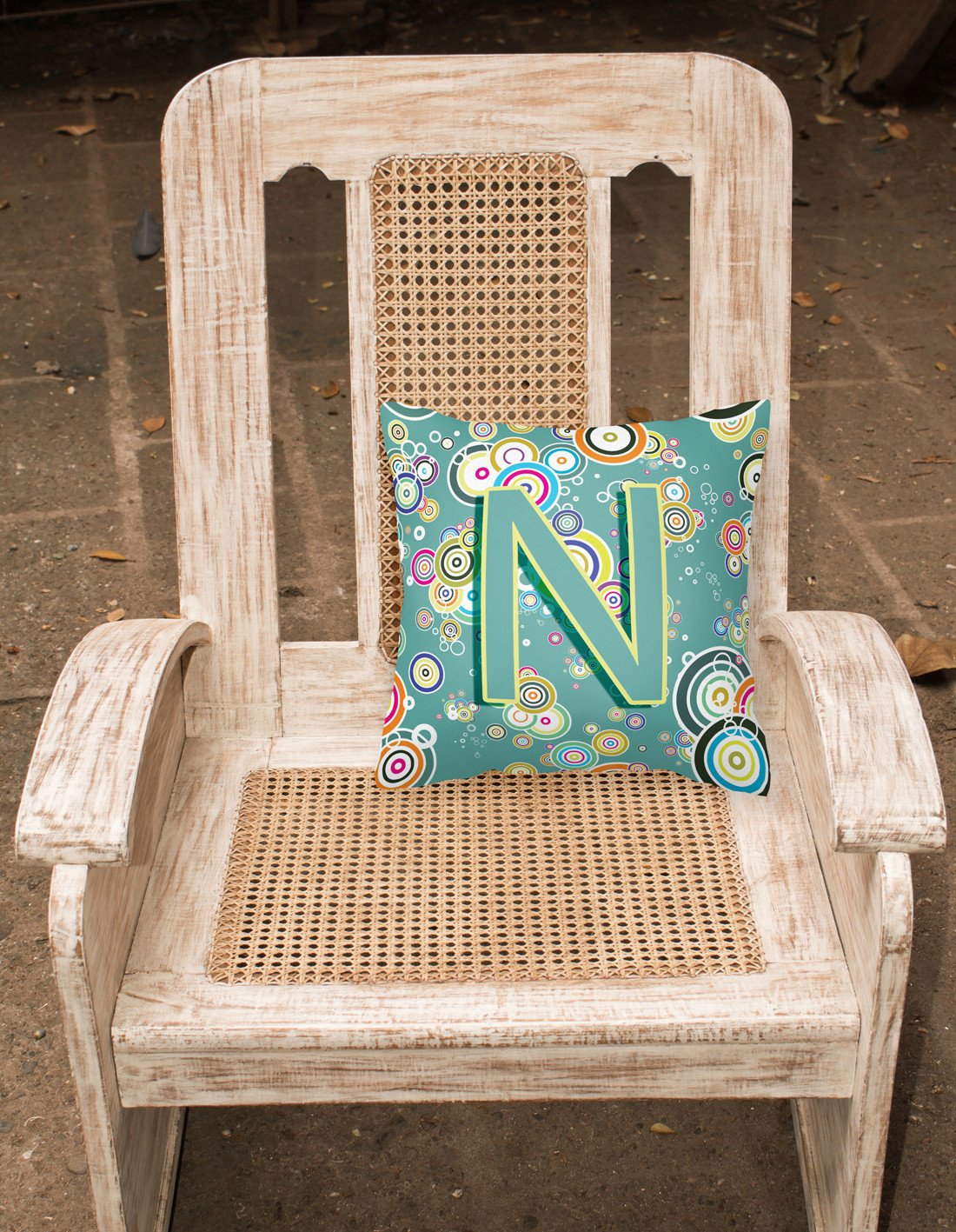 Letter N Circle Circle Teal Initial Alphabet Canvas Fabric Decorative Pillow CJ2015-NPW1414 by Caroline's Treasures