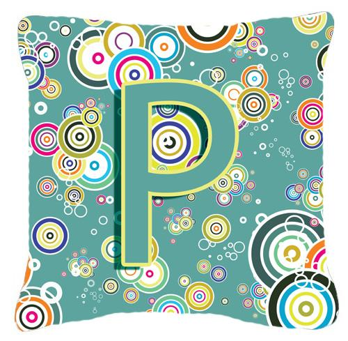 Buy this Letter P Circle Circle Teal Initial Alphabet Canvas Fabric Decorative Pillow