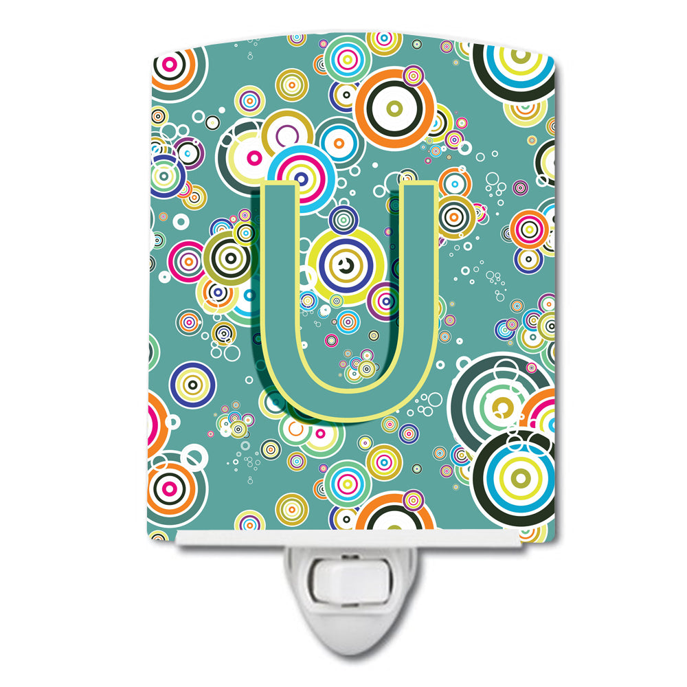 Buy this Letter U Circle Circle Teal Initial Alphabet Ceramic Night Light CJ2015-UCNL