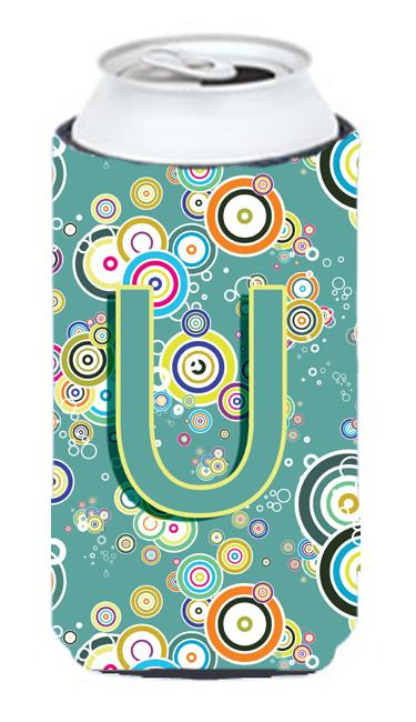 Buy this Letter U Circle Circle Teal Initial Alphabet Tall Boy Beverage Insulator Hugger CJ2015-UTBC