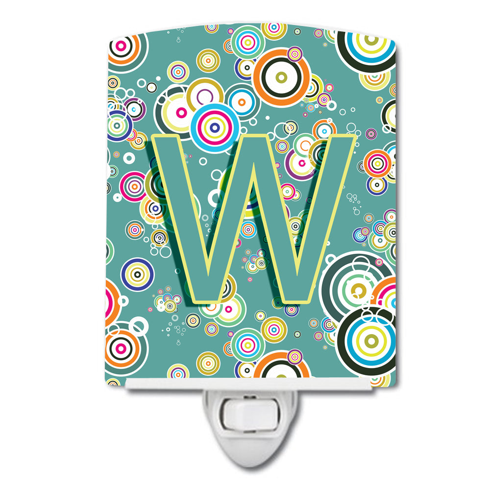 Buy this Letter W Circle Circle Teal Initial Alphabet Ceramic Night Light CJ2015-WCNL