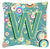 Letter W Circle Circle Teal Initial Alphabet Canvas Fabric Decorative Pillow by Caroline's Treasures