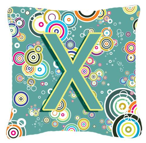 Buy this Letter X Circle Circle Teal Initial Alphabet Canvas Fabric Decorative Pillow