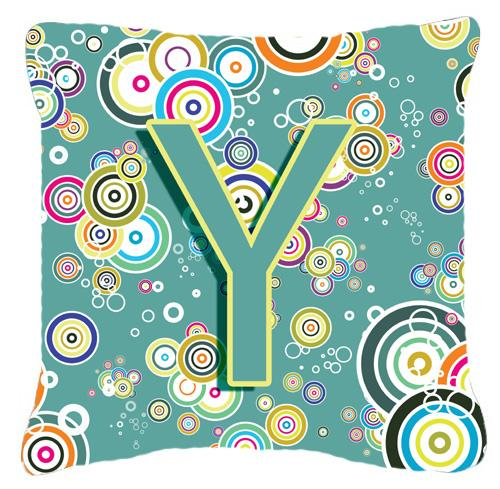 Buy this Letter Y Circle Circle Teal Initial Alphabet Canvas Fabric Decorative Pillow
