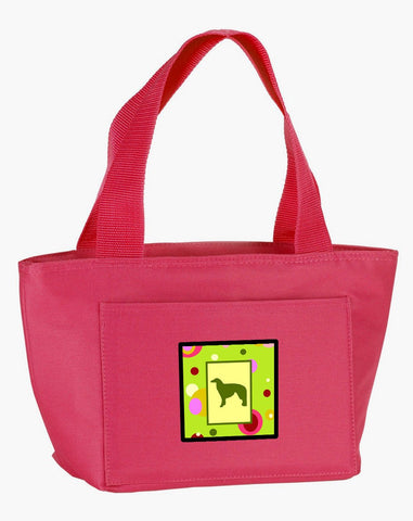 Buy this Lime Green Dots Borzoi  Lunch Bag CK1016PK-8808