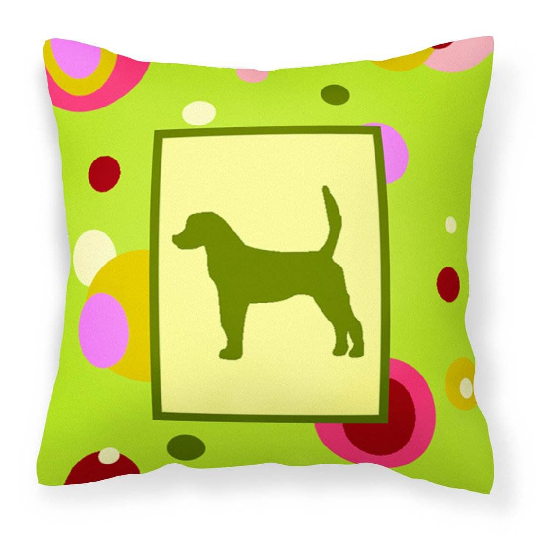 Lime Green Dots English Foxhound Fabric Decorative Pillow CK1027PW1414 by Caroline's Treasures