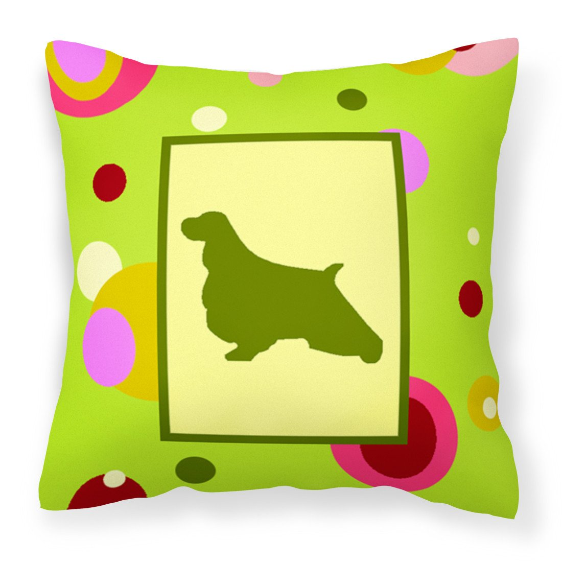 Lime Green Dots English Springer Spaniel Fabric Decorative Pillow CK1029PW1414 by Caroline's Treasures
