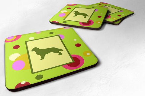 Buy this Set of 4 Flat Coated Retriever Foam Coasters