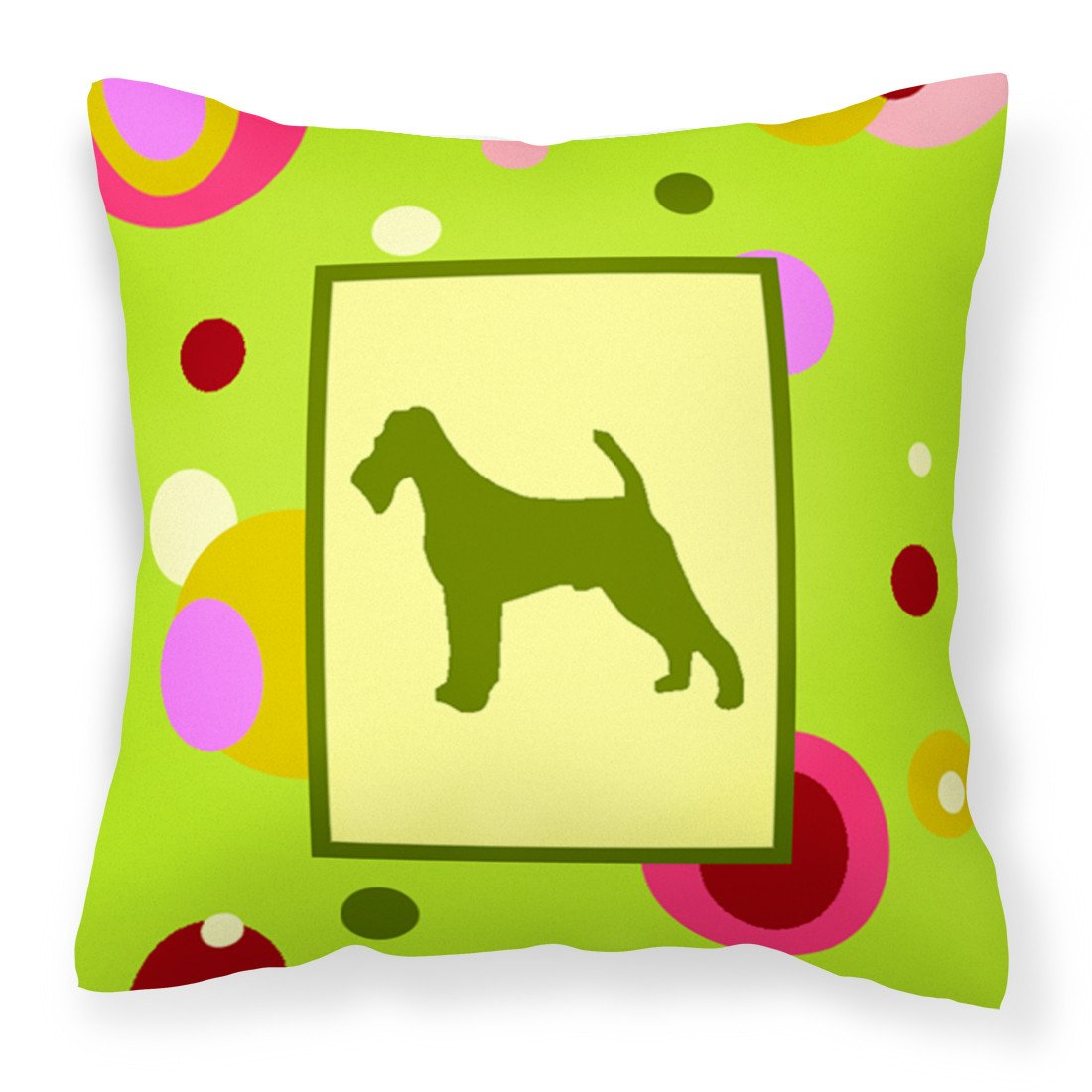 Lime Green Dots Irish Terrier Fabric Decorative Pillow CK1039PW1414 by Caroline's Treasures