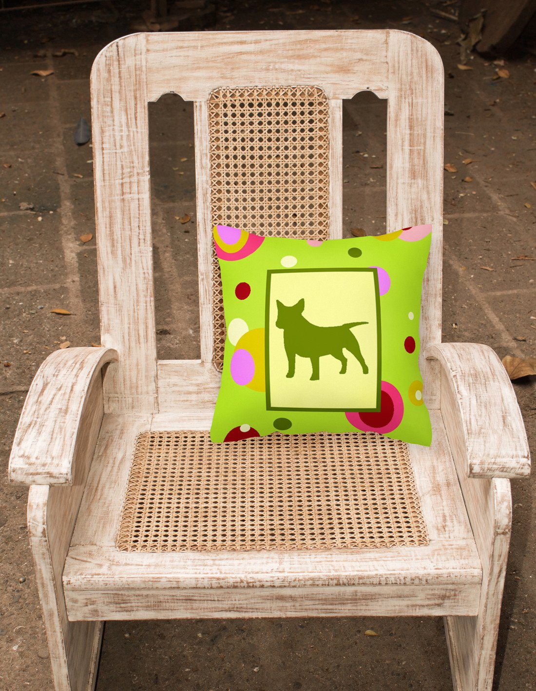 Lime Green Dots Bull Terrier Fabric Decorative Pillow CK1046PW1414 by Caroline's Treasures