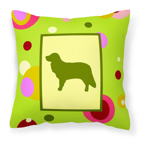 Buy this Lime Green Dots Nova Scotia Duck Toller Fabric Decorative Pillow CK1049PW1414