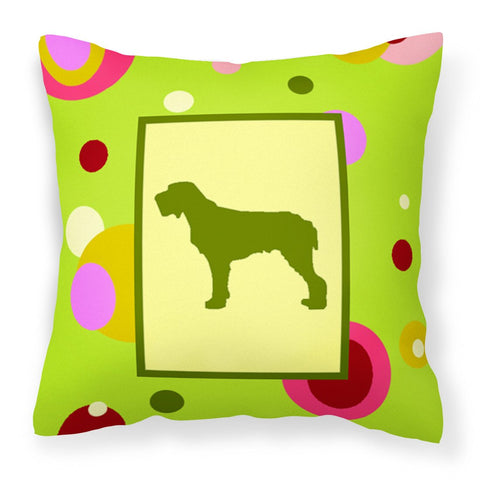 Buy this Lime Green Dots Italiano Spinone Fabric Decorative Pillow CK1059PW1414
