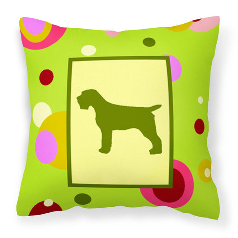 Buy this Lime Green Dots Wirehair Pointing Griffon Fabric Decorative Pillow CK1068PW1414