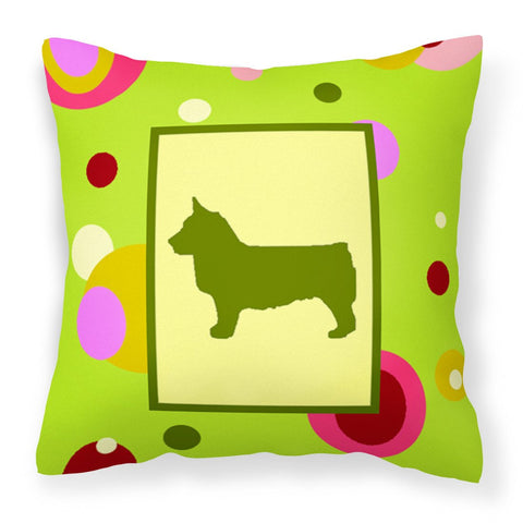 Buy this Lime Green Dots Swedish Vallhund Fabric Decorative Pillow CK1151PW1414
