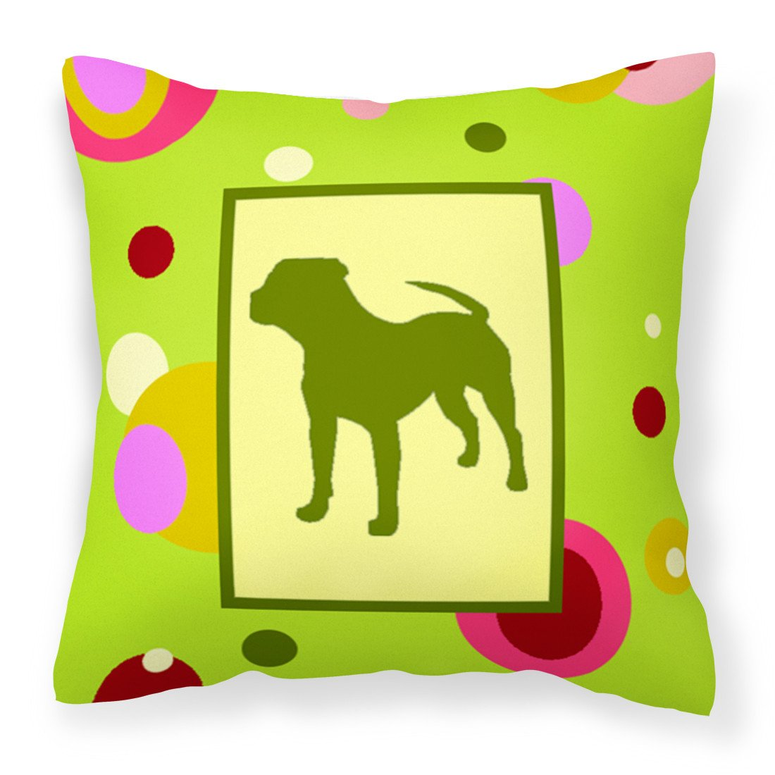 Lime Green Dots Pit Bull Fabric Decorative Pillow CK1153PW1414 by Caroline's Treasures