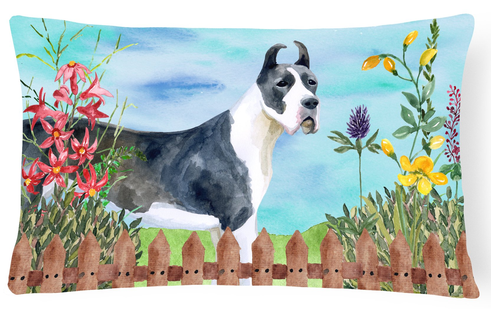 Harlequin Great Dane Spring Canvas Fabric Decorative Pillow CK1205PW1216 by Caroline's Treasures