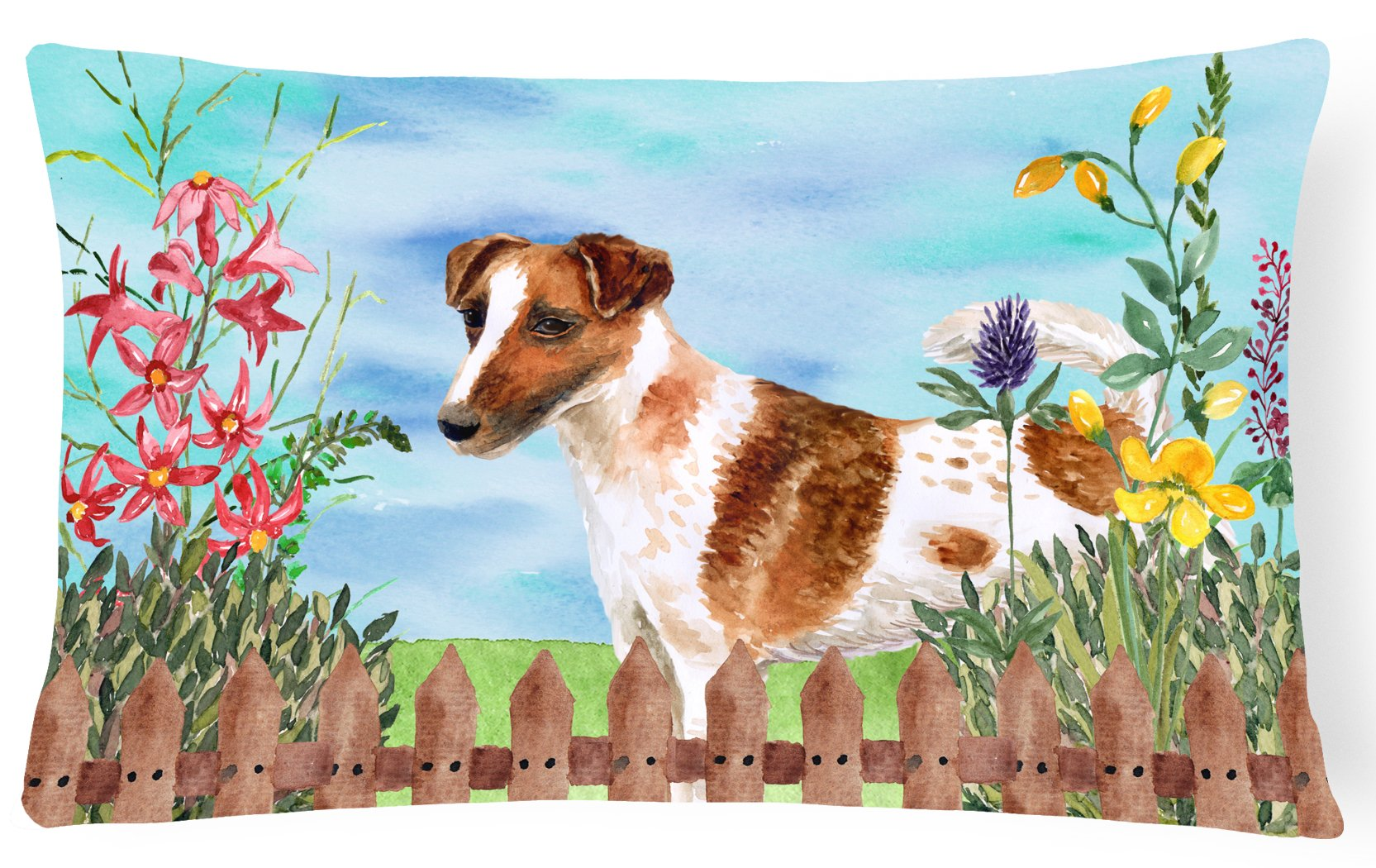 Smooth Fox Terrier Spring Canvas Fabric Decorative Pillow CK1209PW1216 by Caroline's Treasures