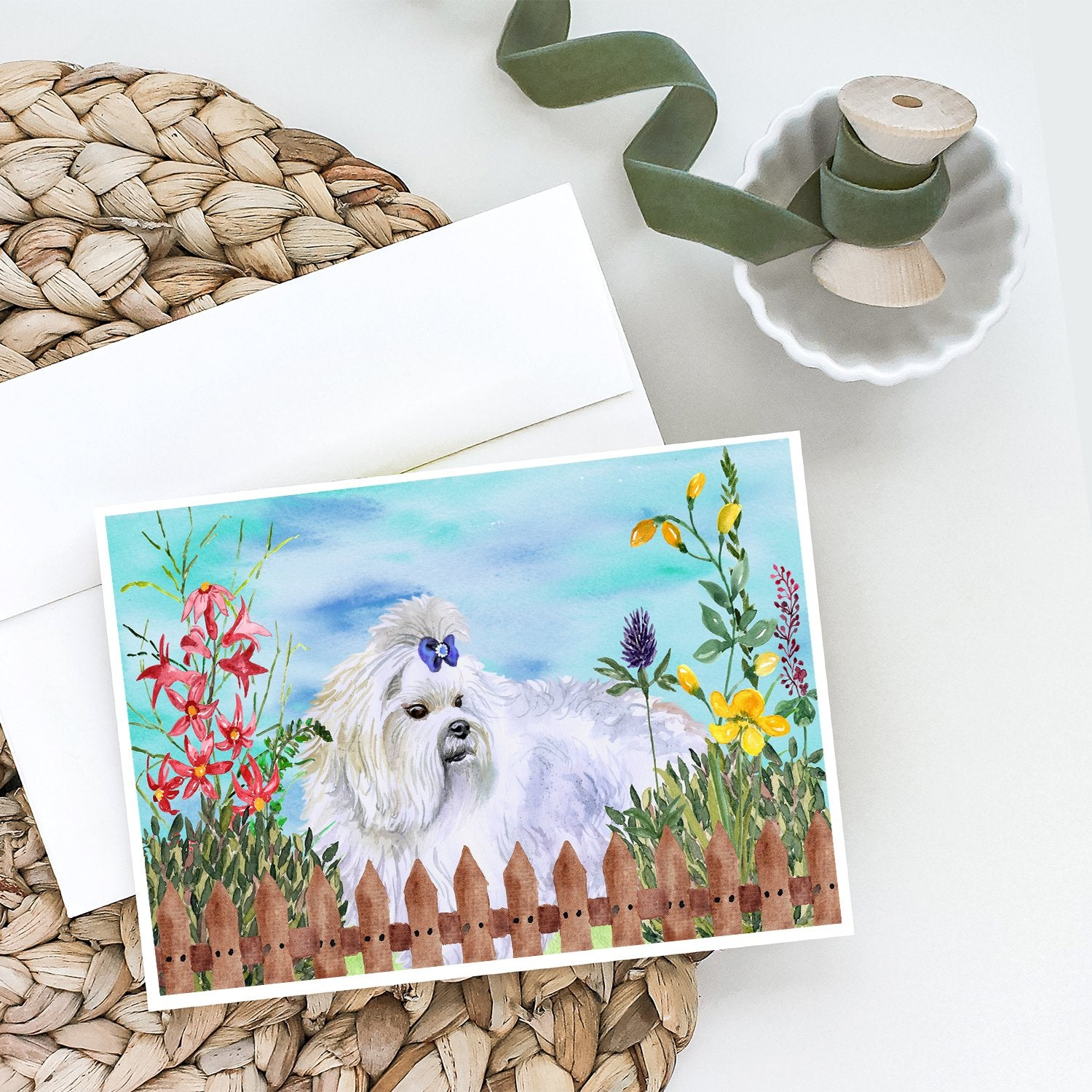 Buy this Maltese Spring Greeting Cards and Envelopes Pack of 8