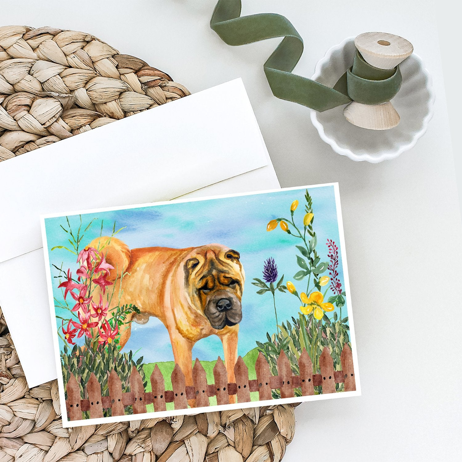 Buy this Shar Pei Spring Greeting Cards and Envelopes Pack of 8