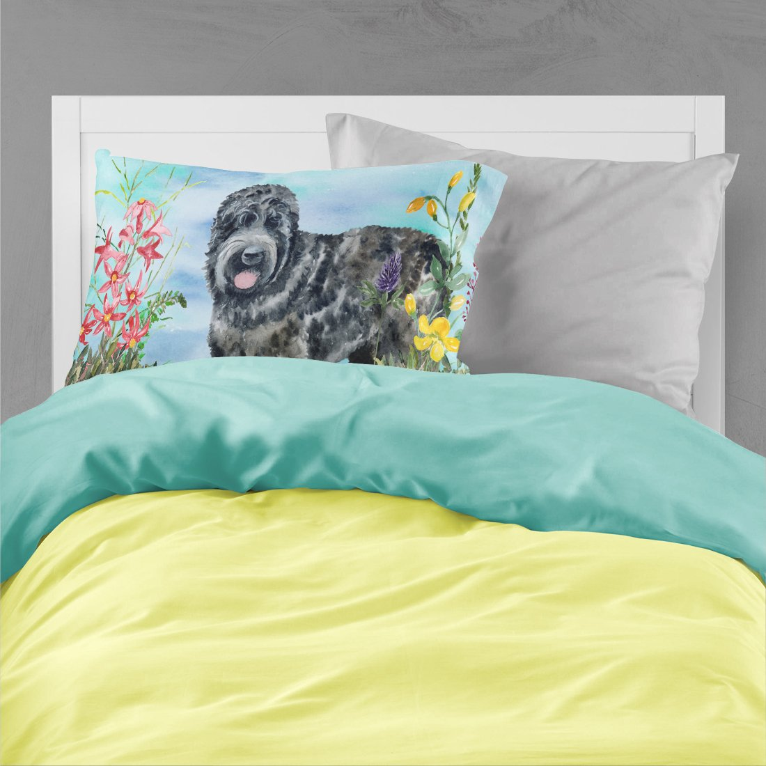 Black Russian Terrier Spring Fabric Standard Pillowcase CK1239PILLOWCASE by Caroline's Treasures