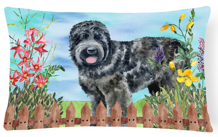 Buy this Black Russian Terrier Spring Canvas Fabric Decorative Pillow CK1239PW1216