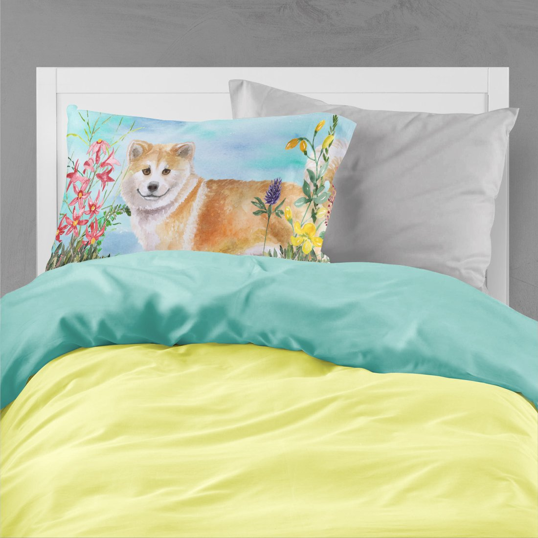 Shiba Inu Spring Fabric Standard Pillowcase CK1240PILLOWCASE by Caroline's Treasures