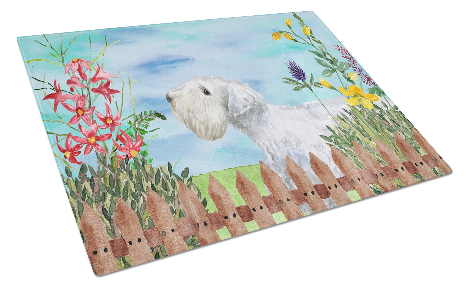Sealyham Terrier Spring Glass Cutting Board Large CK1246LCB by Caroline's Treasures