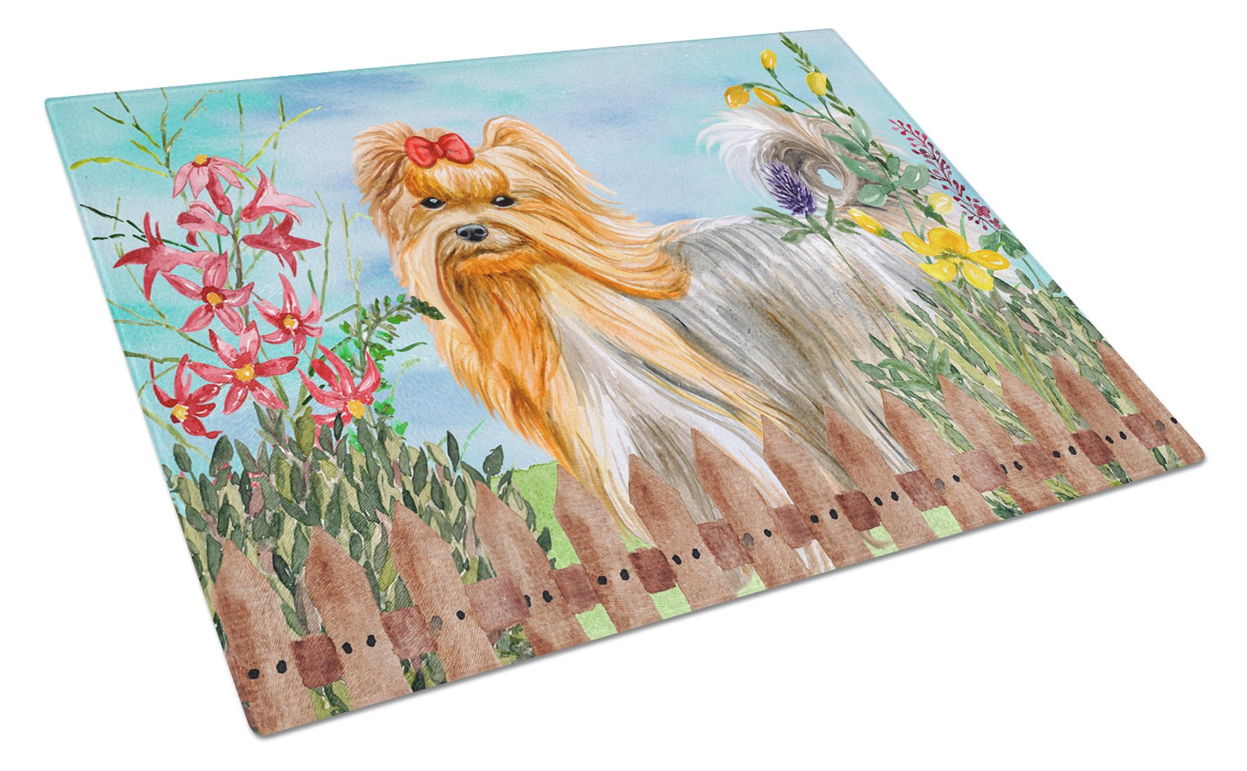 Yorkshire Terrier Spring Glass Cutting Board Large CK1247LCB by Caroline's Treasures