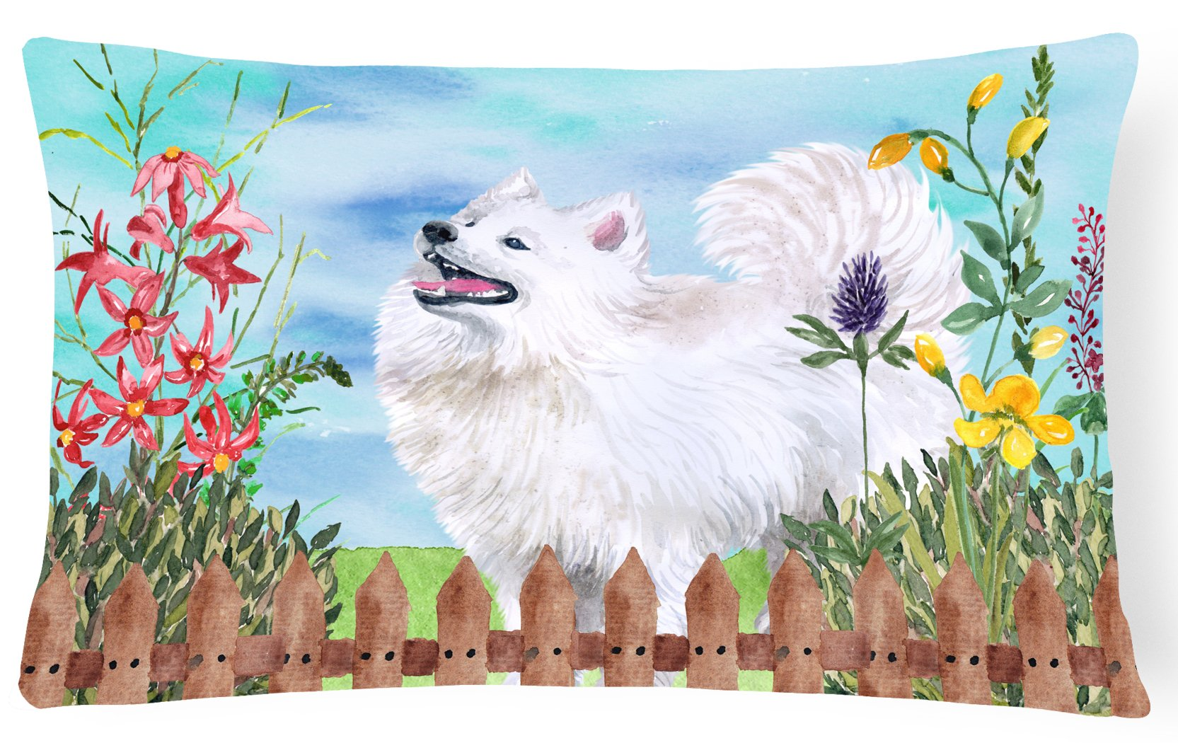Samoyed Spring Canvas Fabric Decorative Pillow CK1253PW1216 by Caroline's Treasures
