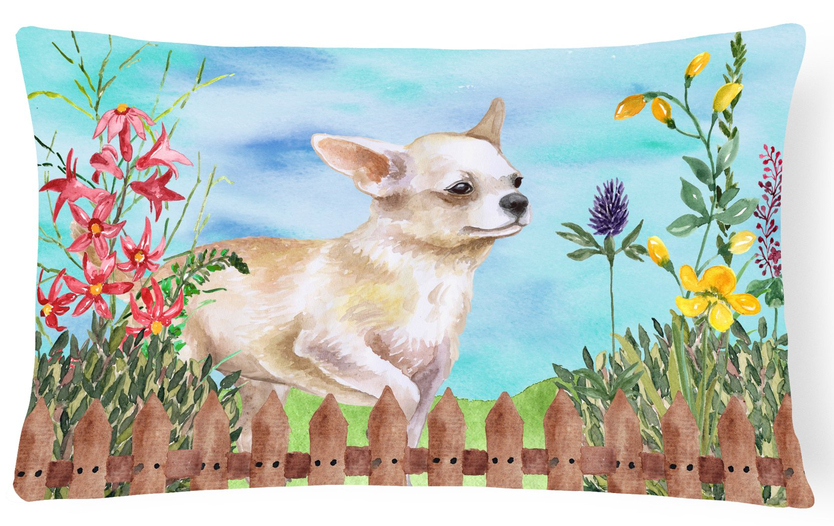 Chihuahua Leg up Spring Canvas Fabric Decorative Pillow CK1259PW1216 by Caroline's Treasures