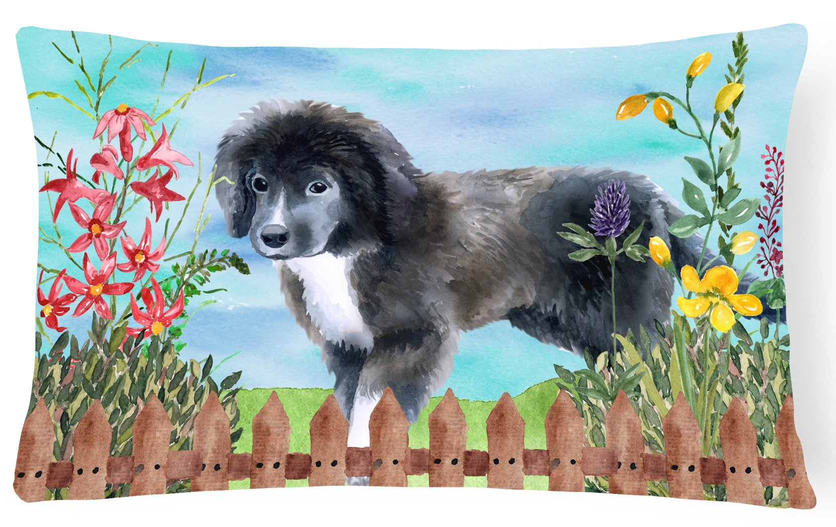 Newfoundland Puppy Spring Canvas Fabric Decorative Pillow CK1261PW1216 by Caroline's Treasures