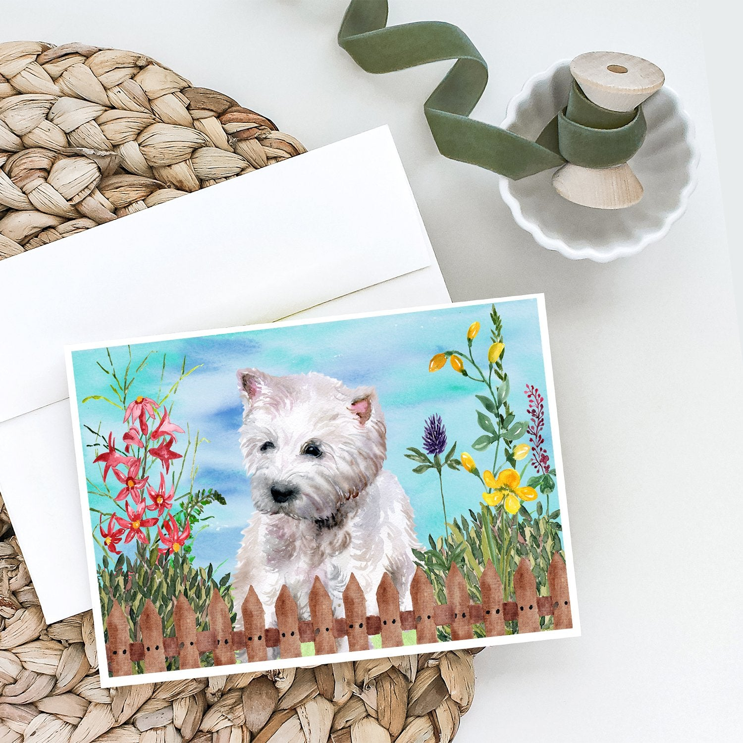 Buy this Westie Spring Greeting Cards and Envelopes Pack of 8