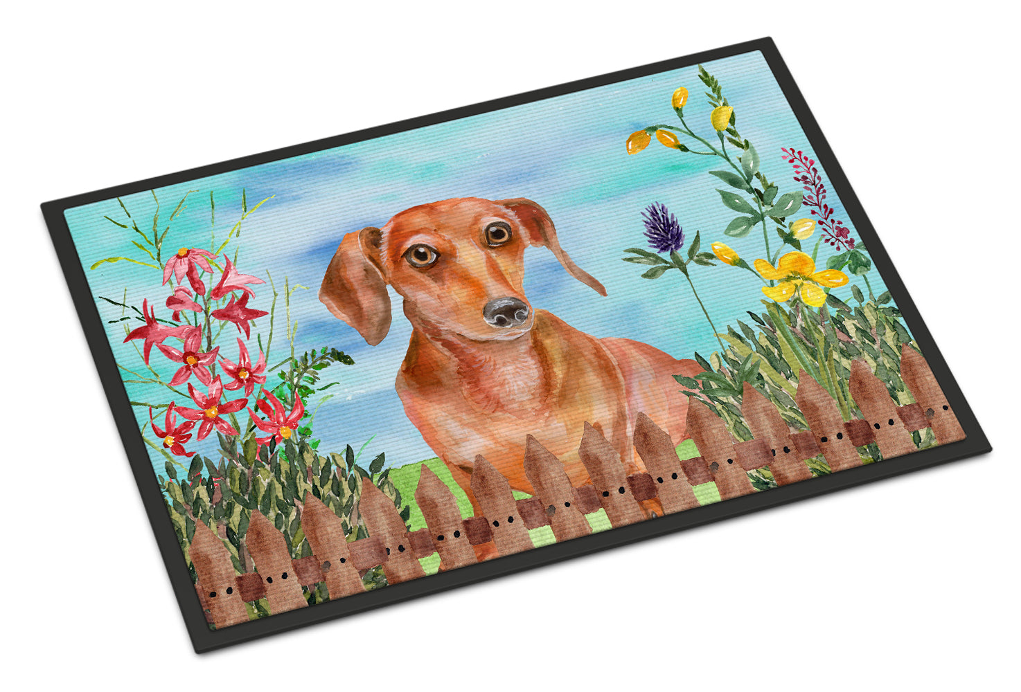 Red Dachshund Spring Indoor or Outdoor Mat 18x27 CK1269MAT by Caroline's Treasures