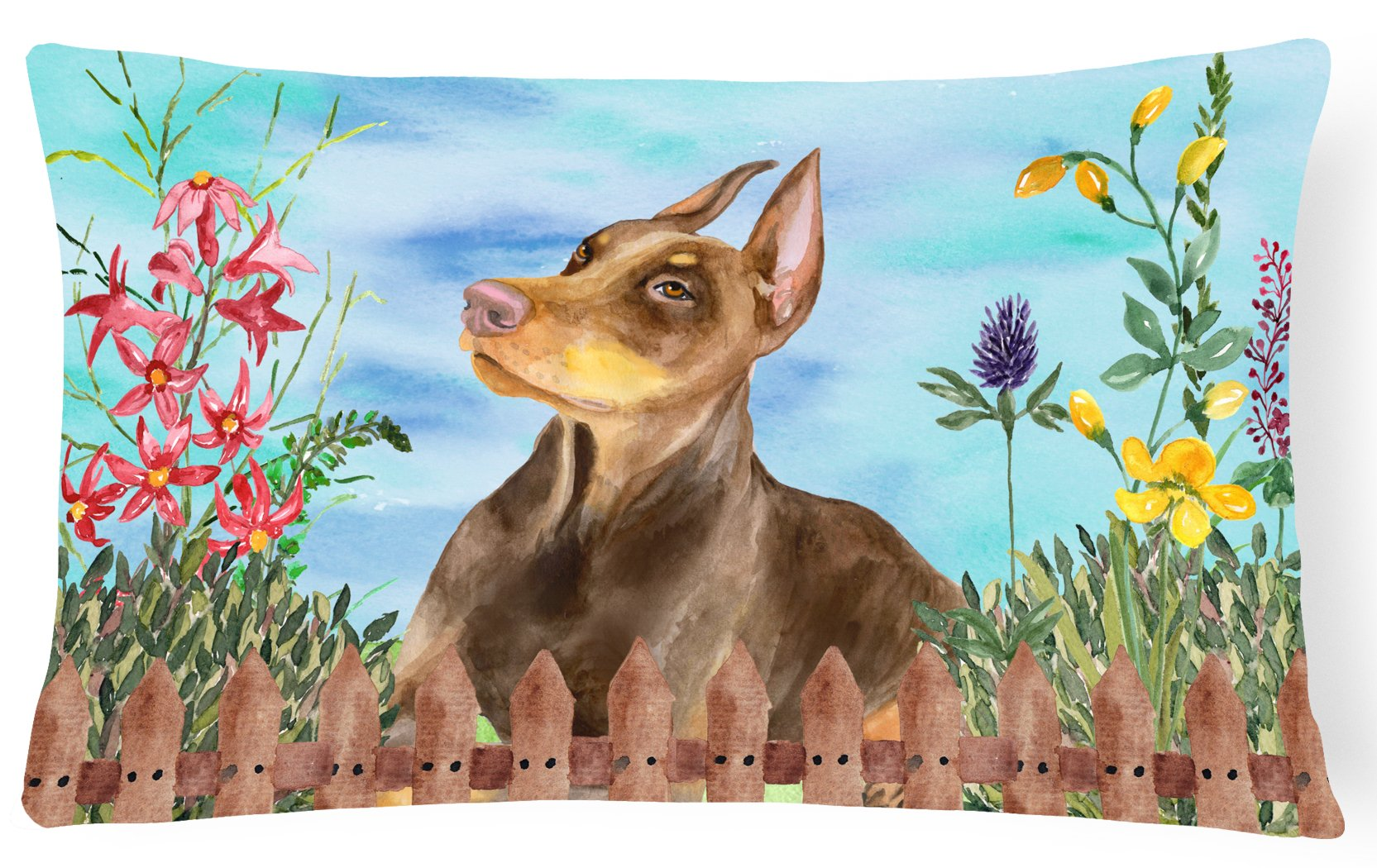 Doberman Pinscher Spring Canvas Fabric Decorative Pillow CK1271PW1216 by Caroline's Treasures