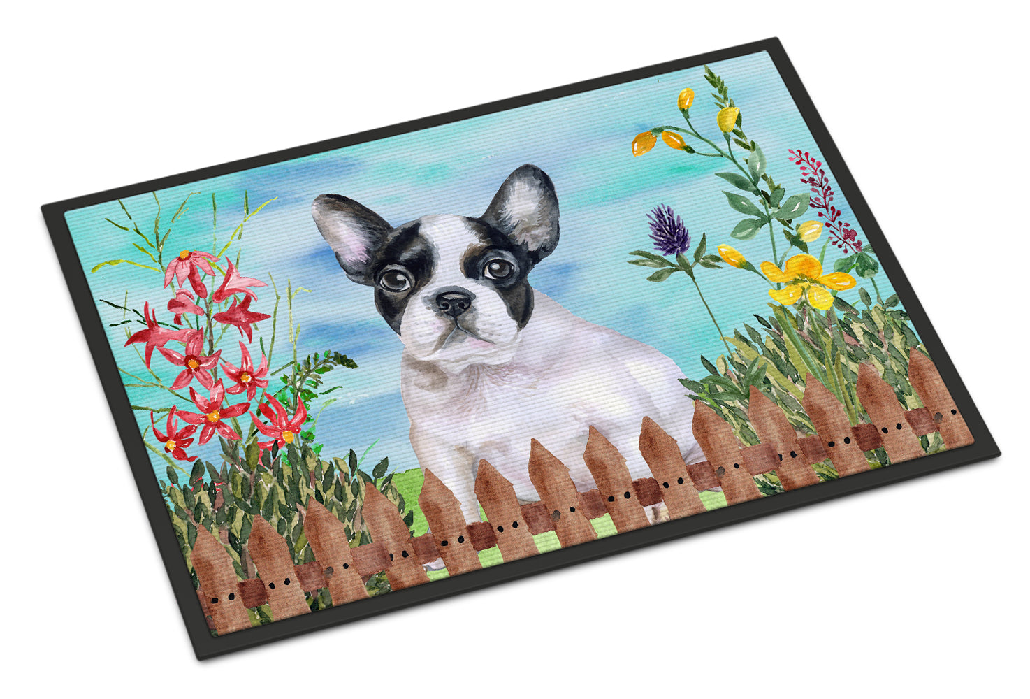 French Bulldog Black White Spring Indoor or Outdoor Mat 18x27 CK1272MAT by Caroline's Treasures