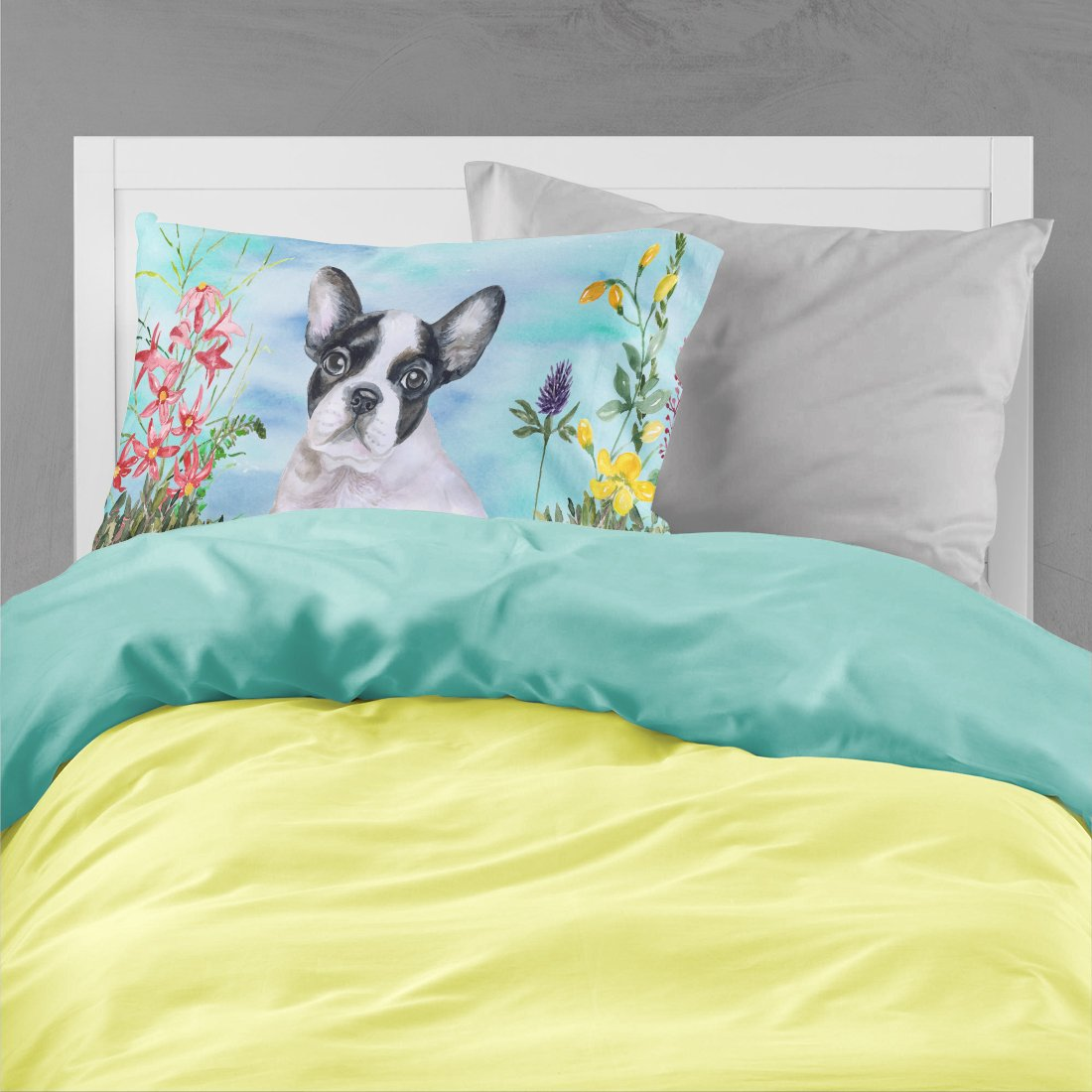 French Bulldog Black White Spring Fabric Standard Pillowcase CK1272PILLOWCASE by Caroline's Treasures