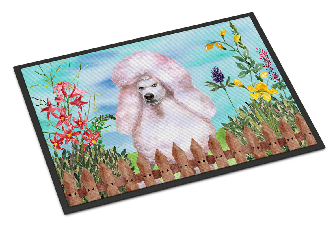 Buy this White Standard Poodle Spring Indoor or Outdoor Mat 18x27 CK1279MAT