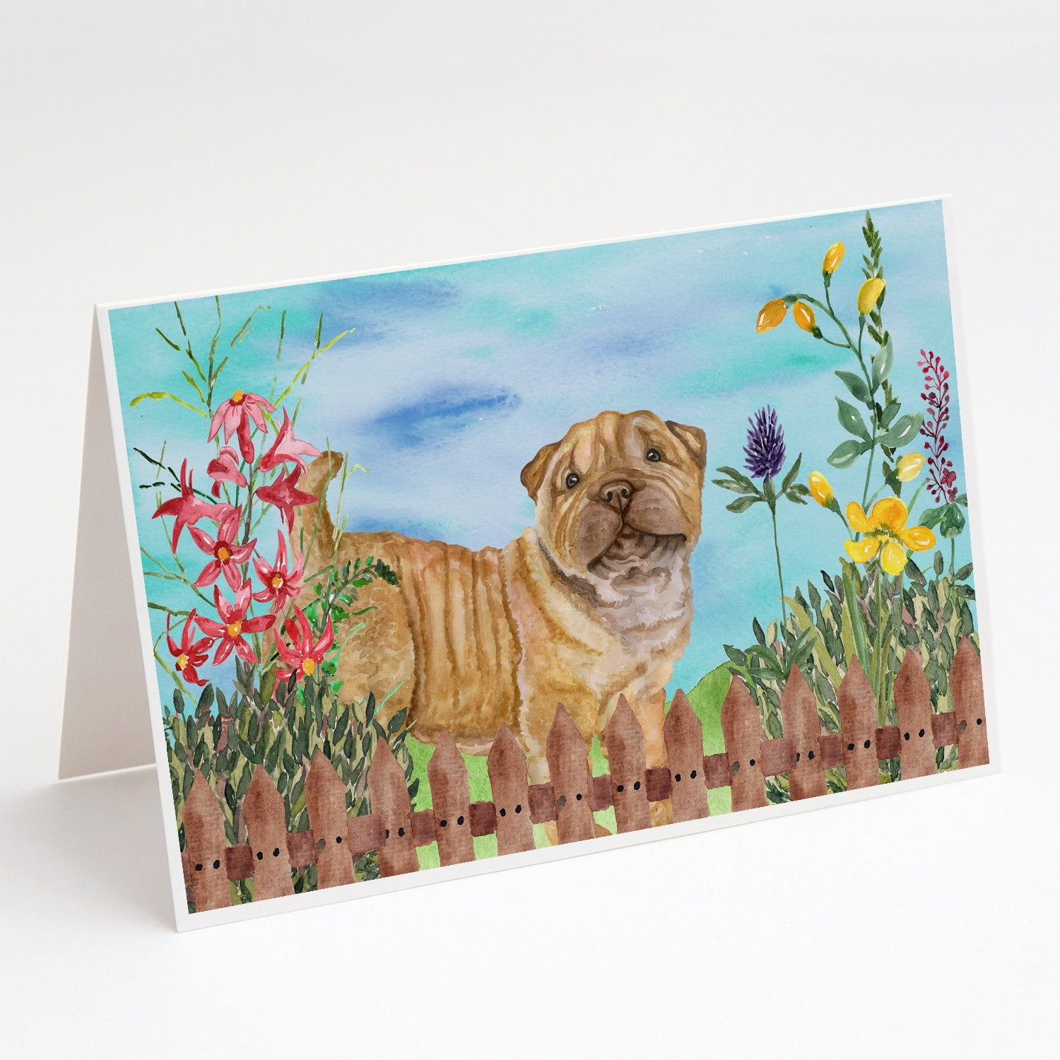 Buy this Shar Pei Puppy Spring Greeting Cards and Envelopes Pack of 8