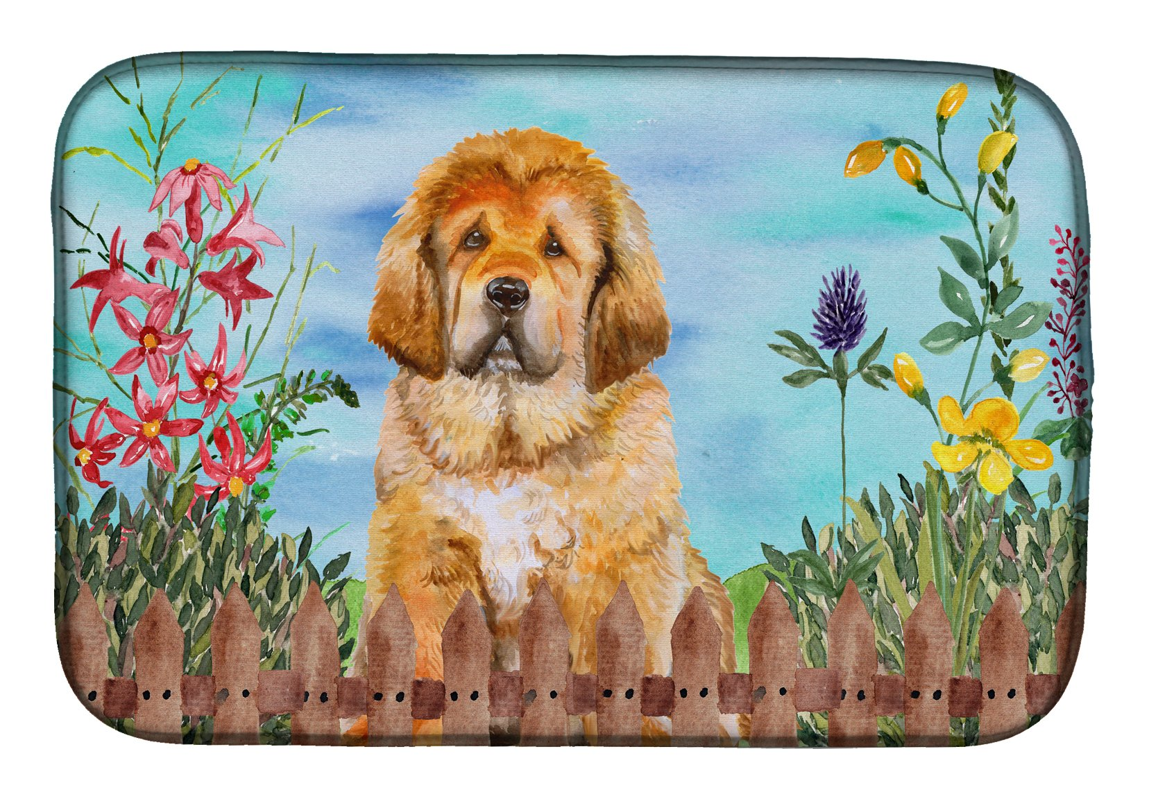 Tibetan Mastiff Spring Dish Drying Mat CK1283DDM by Caroline's Treasures