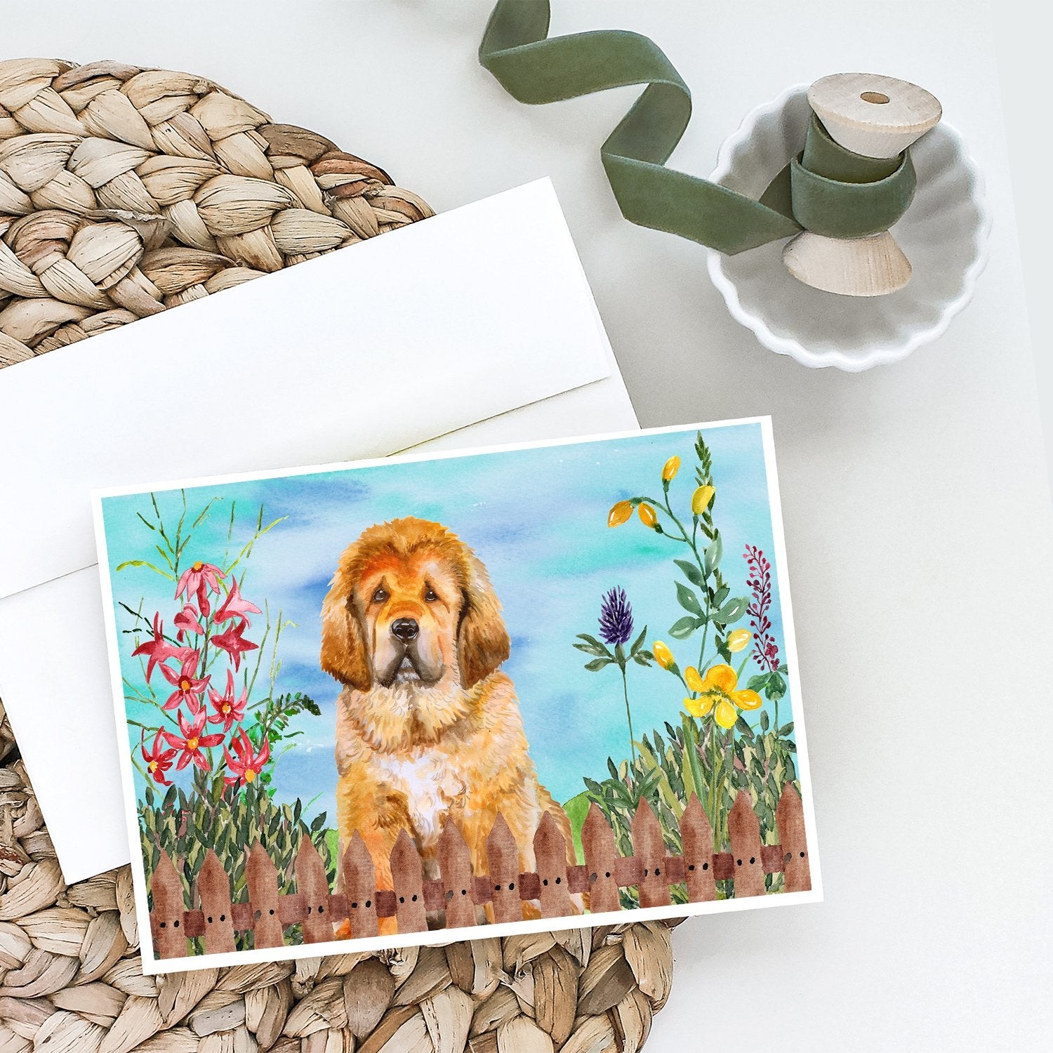 Buy this Tibetan Mastiff Spring Greeting Cards and Envelopes Pack of 8