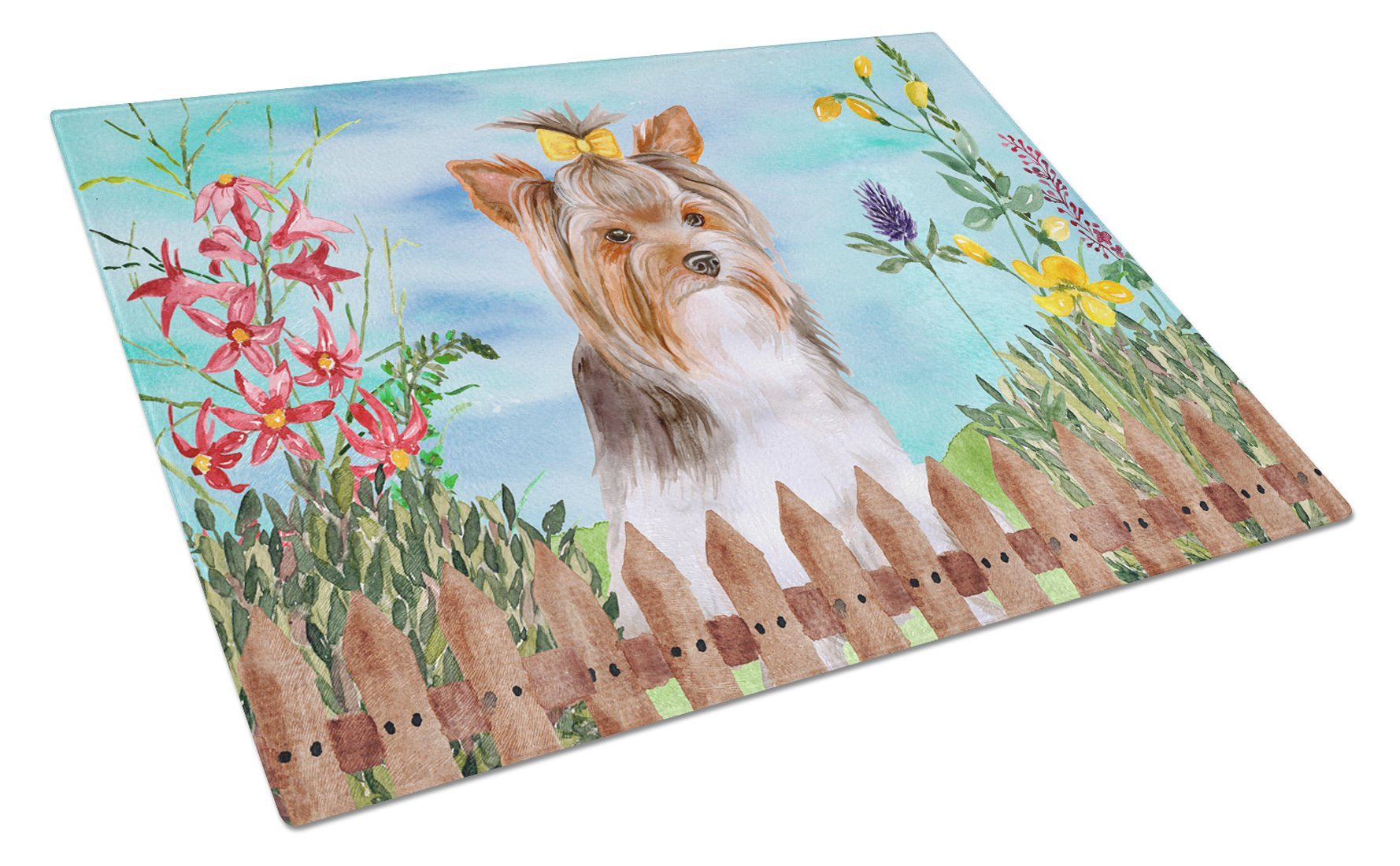 Yorkshire Terrier #2 Spring Glass Cutting Board Large CK1285LCB by Caroline's Treasures