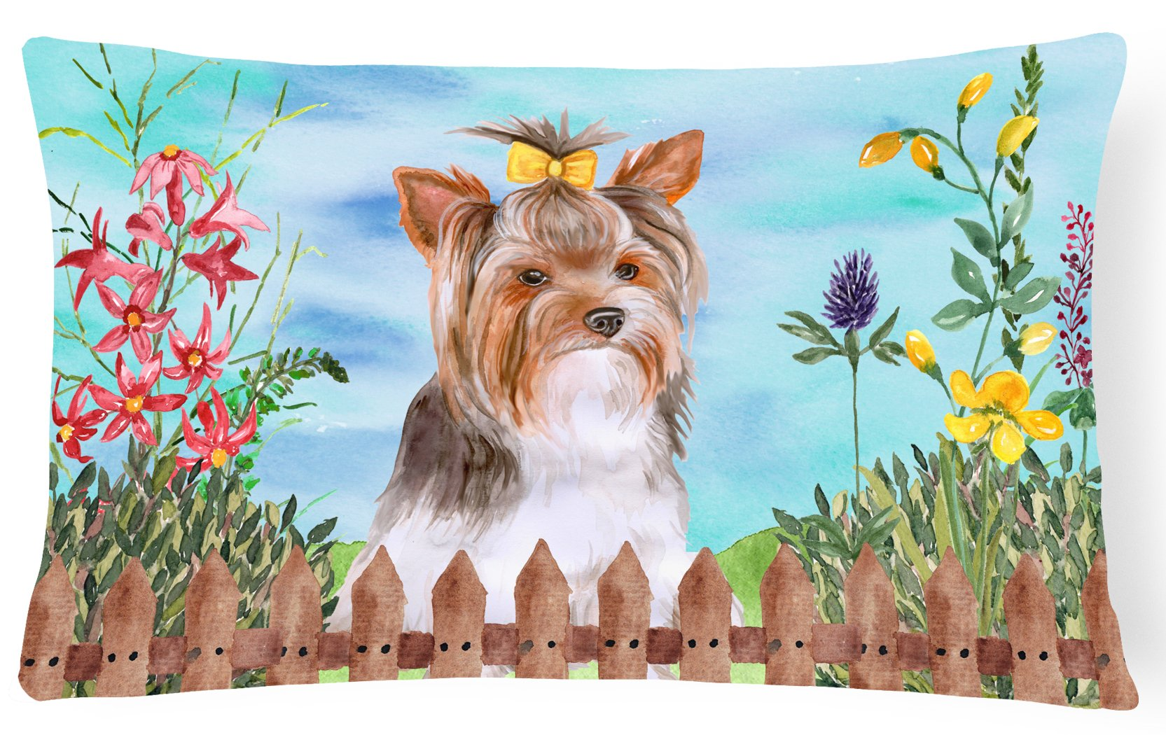 Buy this Yorkshire Terrier #2 Spring Canvas Fabric Decorative Pillow CK1285PW1216