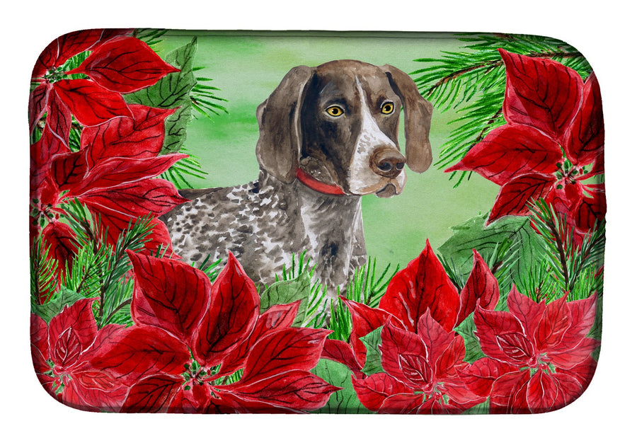 Buy this German Shorthaired Pointer Poinsettas Dish Drying Mat CK1290DDM