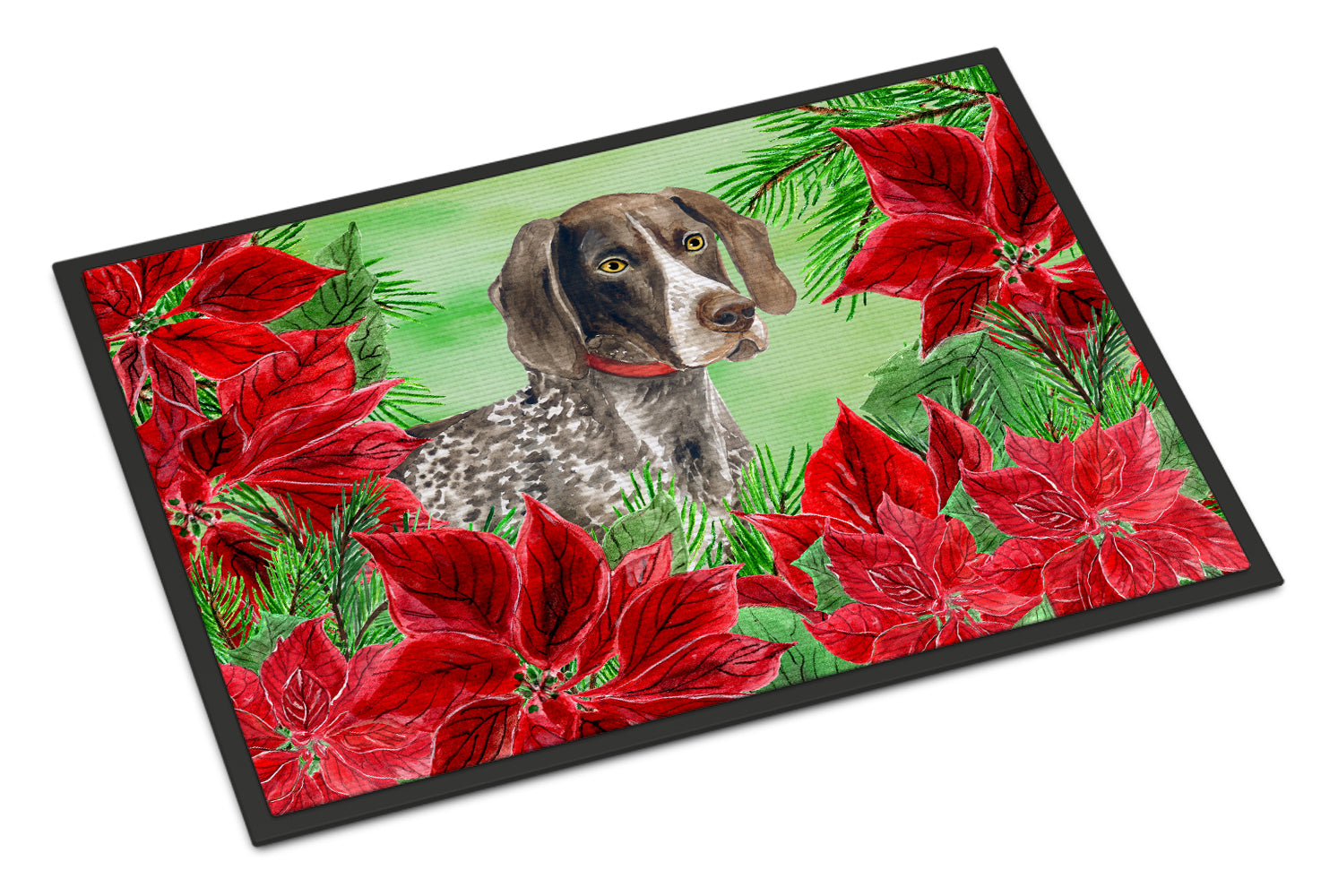 German Shorthaired Pointer Poinsettas Indoor or Outdoor Mat 18x27 CK1290MAT by Caroline's Treasures