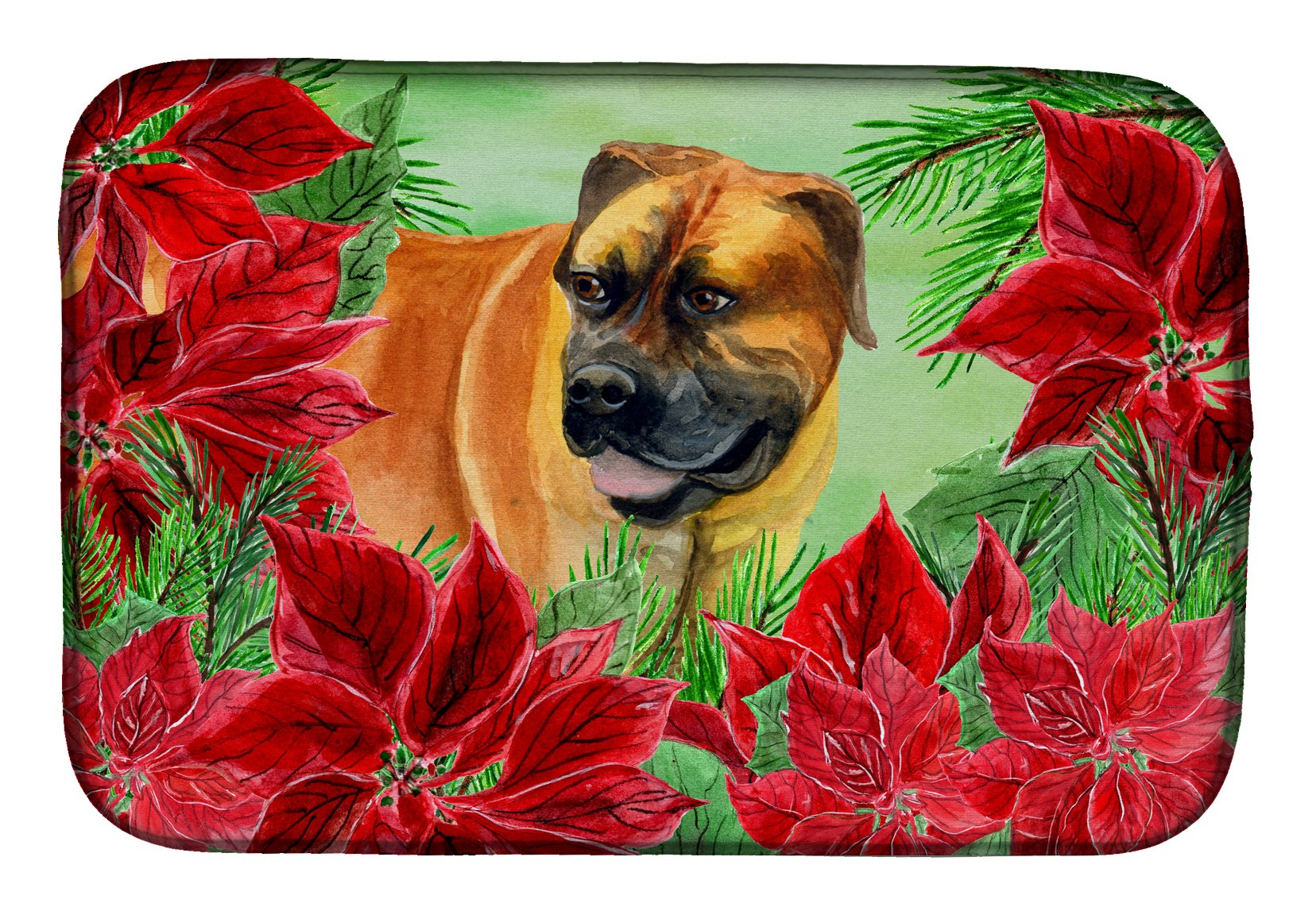 Boerboel Mastiff Poinsettas Dish Drying Mat CK1295DDM by Caroline's Treasures