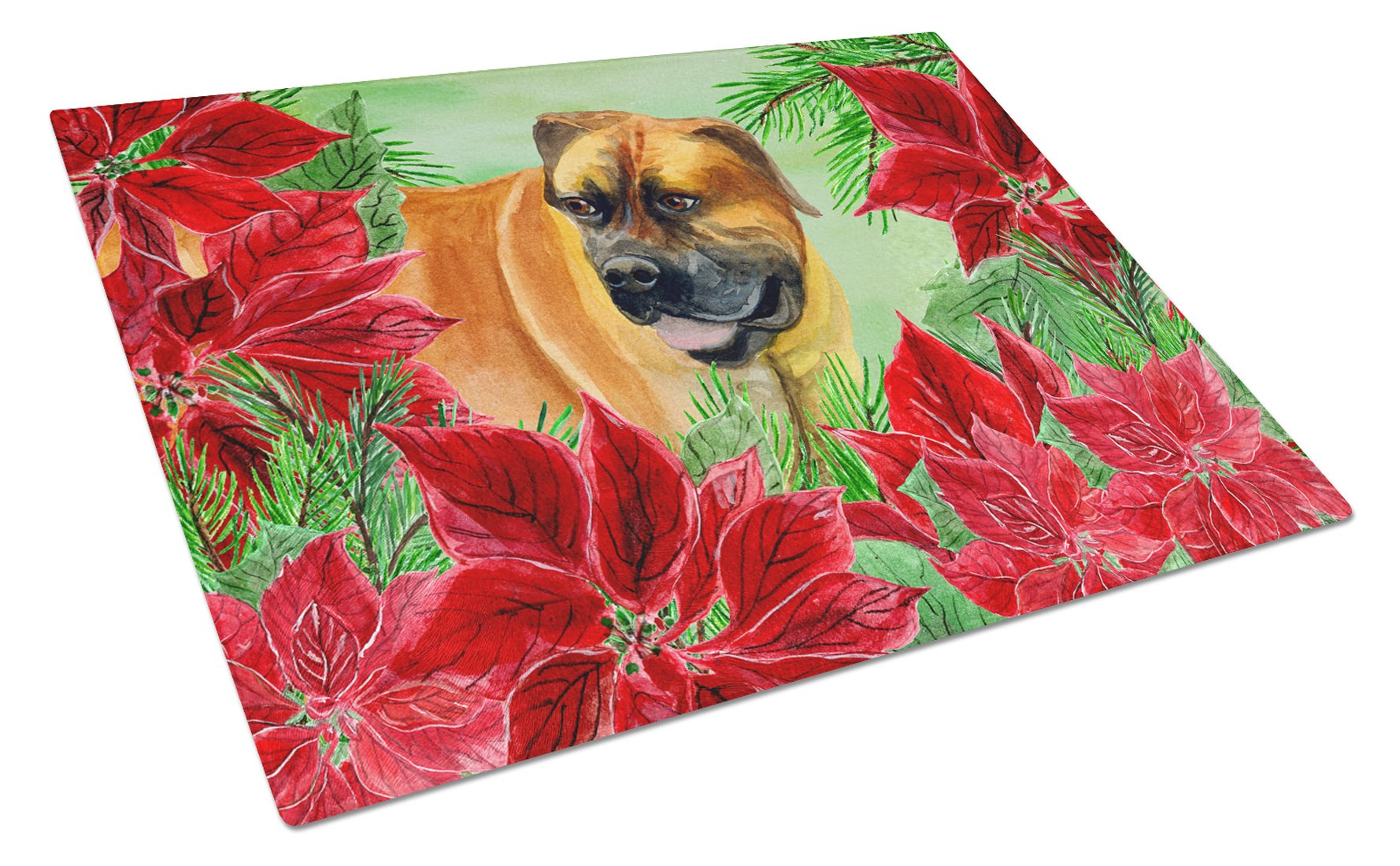 Boerboel Mastiff Poinsettas Glass Cutting Board Large CK1295LCB by Caroline's Treasures