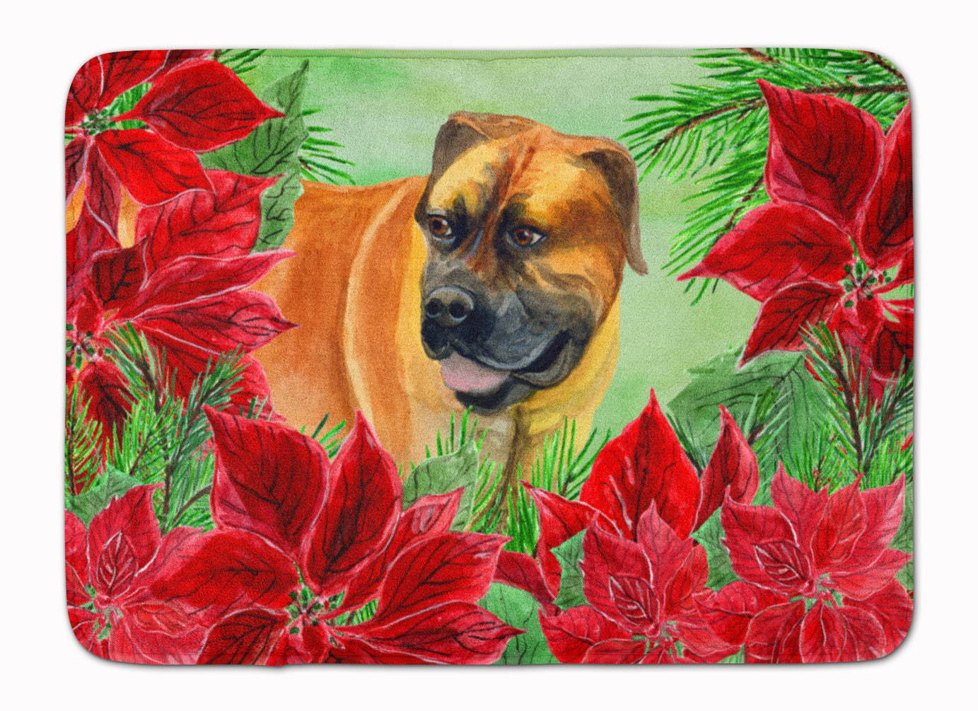 Boerboel Mastiff Poinsettas Machine Washable Memory Foam Mat CK1295RUG by Caroline's Treasures