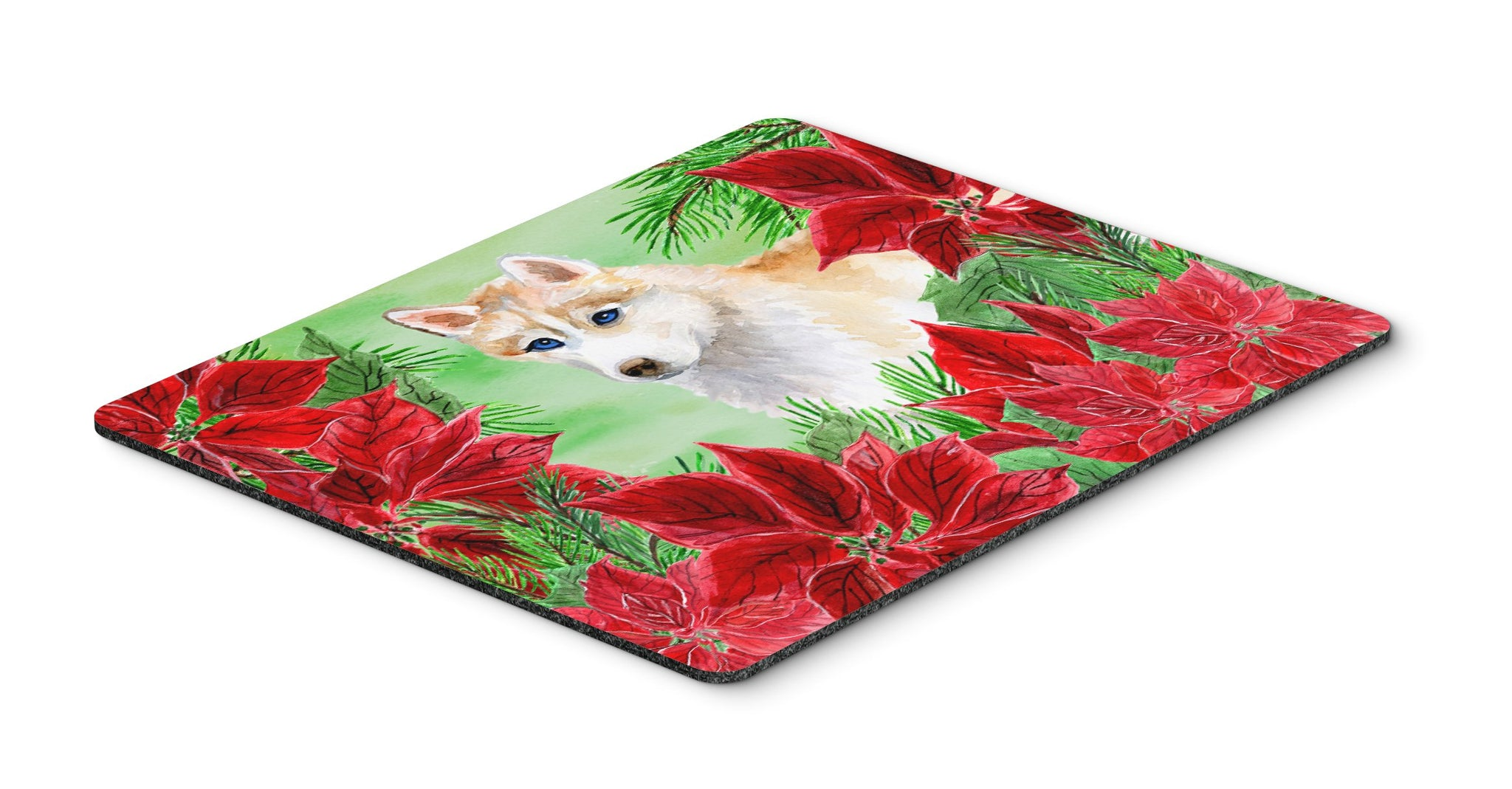 Buy This Siberian Husky Poinsettas Mouse Pad, Hot Pad Or