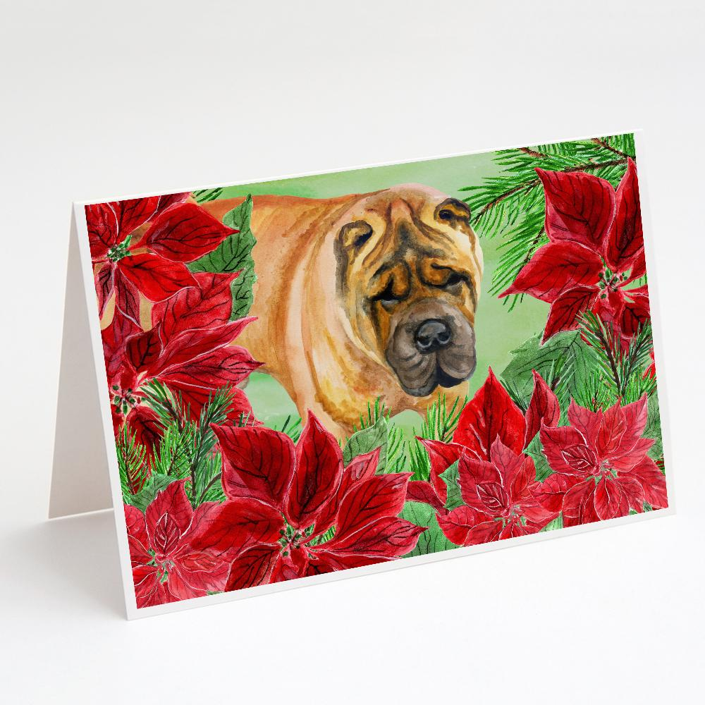 Buy this Shar Pei Poinsettas Greeting Cards and Envelopes Pack of 8